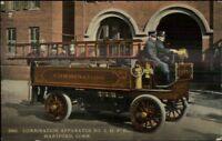 Hartford CT Combination Fire Apparatus c1910 Postcard