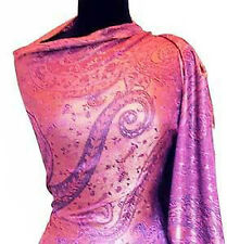 Shades of Rose Silk Indian Shawl Reversible Jamavar Shawl Jamawar Stole Pashmina