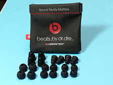 In-Ear Beats Black Carrying Pouch plus 20 Beats Black Replacement Earbuds Gel