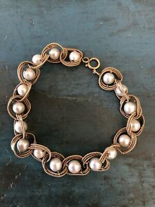 "Vintage 14k Yellow Gold Cultured Pearl 8"" Bracelet 16.6 Grams"
