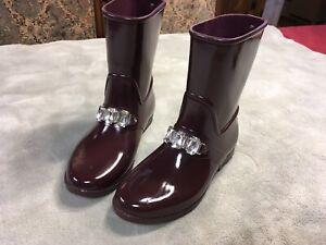Womens Michael Kors Rain Boots Size 8 Rhinestones Deep Burgandy