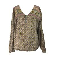 Anokhi Cotton Kaftan Top Blouse Yellow Multi Floral Fits 10 12 UK (see left arm)
