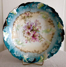 "RS Prussia 9"" Berry Bowl Blue, Cobalt highlights, Gold stencils, Floral decor"