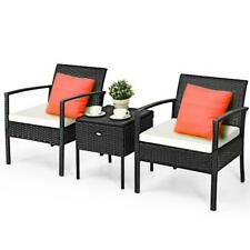 3 PCS Outdoor Patio Rattan Conversation Set Garden Lawn Furniture