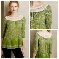 Meadow Rue Anthropologie Green Floral Earthly Delights Crochet Peasant Blouse XS