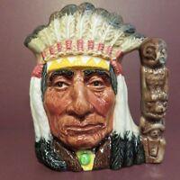 """Royal Doulton Toby Jug, North American Indian D6614 4.25"""" Blackfoot Chief"""