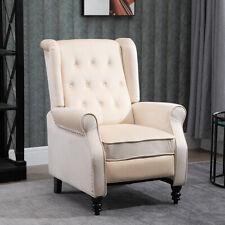 Recliner Chair Lounge Tufted Rivets Velvet Sofa Living Room Furniture Beige New