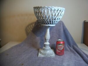 VINTAGE RARE FRENCH CAST IRON LATTICE GARDEN URN METAL FOOTED TALLER PLANTER  !!
