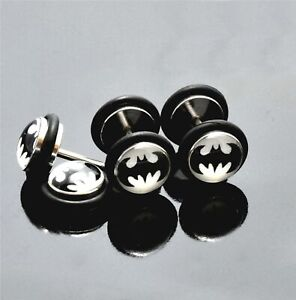 Earring Fake Tunnel Batman Superhero O Seal Surgical Steel Ear Stud Bat Logo 18g