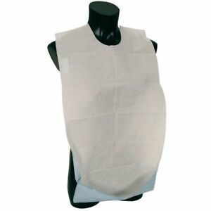 Disposable Adult Bibs with Pocket, Self Adhesive Clothing Dining Protector - 100