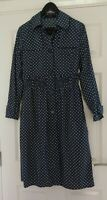 Daks London Blue Polka Dots Vintage Look Button Up Dress UK Size 14