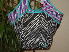 Roxy Canvas Animal Print White Black Blue Slouch Exlarge Shoulder Bag Tote NWT