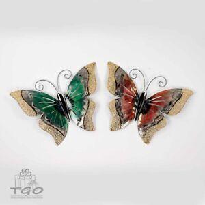 Formano Wanddeko Schmetterling aus Metall 28cm rot gelb, grün gelb