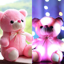 Small LED Flash Teddy Bear Stuffed Animal Plush Soft Hug Toy Baby Girls Gift US