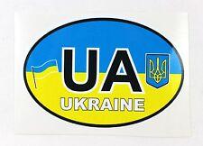 Ukrainian Car Bumper Sticker UA Country Name Code Tryzub Flag Coat of Arms