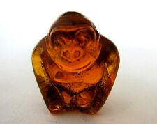 Antique Japanese amber netsuke -Gorilla in the Mist ,signed (insect inclusion)