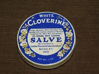 VINTAGE WHITE CLOVERINE SALVE TIN *EMPTY*