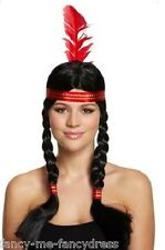 Ladies Sexy Native American Indian Squaw Wild West Fancy Dress Costume Plait Wig