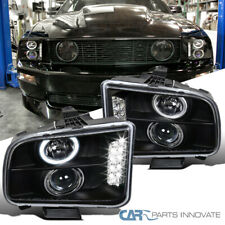 For 05-09 Ford Mustang Matte Black LED Halo Projector Headlights Head Lamps Pair
