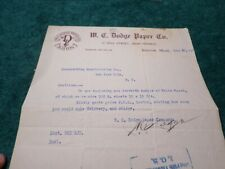 1917 Old Document, W.C. Dodge Paper Company, Boston MA, Autograph W.C. Dodge