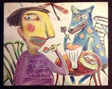 "Kim Robertson Outsider Folk Artist ""Fat Floyd and His Dog..."" Acrylic on Canvas"