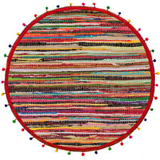 💖 Recycled Round Cotton and Polyester Rag Rug with Pom Poms 90cm Shabby Chic