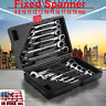 12x 8-19mm Metric Fixed Head Ratcheting Wrench Combination Spanner Tool Set Case