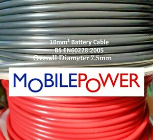 10mm² Thinwall 70amp Auto Boat Battery Cable Red or Black by the metre