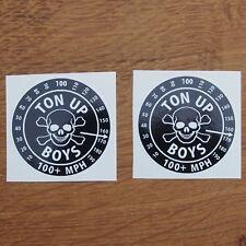 Two Motorcycle Biker Helmet Tank Cafe Racer Ton Up Boys Stickers TON UP BOYS