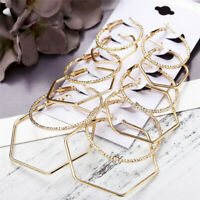 6 Pairs Trendy Gold Geometric Big Circle Hoop Earrings Women Steampunk Ear Clip
