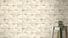 3D Effect Geometric Feature Wall Wallpaper White Tile Illusion Funky Modern