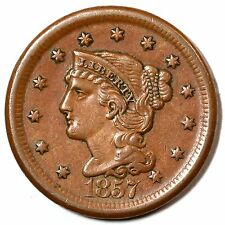 1857 N-1 Large Date Braided Hair Large Cent Coin 1c
