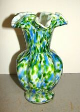 Vintage Fenton Vasa Murrhina Blue & Green Vase