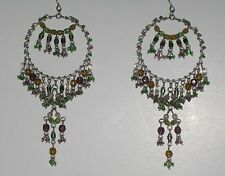 """New Handcrafted 3.5"""" Dream Catcher Pierced Earring, Green,Bro Purple Color Beads"""