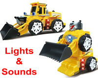 Transformer Bulldozer Truck Light Up Robot Construction Toys Flashing Bots