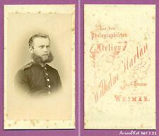 CDV HARTAN à WEIMAR : SOLDAT MILITAIRE ALLEMAND EN BUSTE VERS 1875 -J31