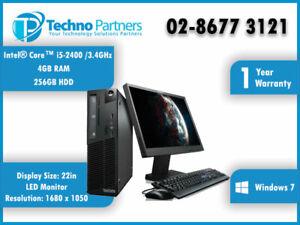 "Lenovo Desktop Computer Package  M91 4518 i5 2400 4G 250G 2 22"" LCD Dual Monitor"