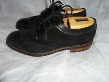 M&s De Luxe Homme En Cuir Noir À Lacets Chaussures Chaussures Taille UK 7.5 EU 41.5 très bon état