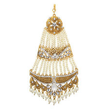 JWELLMART INDIAN CZ GOLD TONE BELLY DANCE PASSA JHOOMER HAIR ACCESSORY FREE SHIP