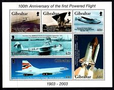 Gibraltar 2003 100th anniver. of the first flight plane ,aircraft , aviation MNH