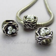 2PCs Birds Nest European Beads For European Charm Bracelets - Gift Idea For Mom
