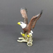 """Small Bald Eagle on an Antler Figurine 4"""" Tall Collectible Bird Statue D"""