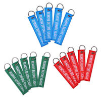 5x Remove Before Flight Embroidered Keychain Luggage Tag Label 3 Color Key Chain