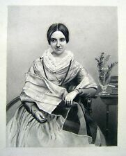 SMALL PORTRAIT YOUNG LADY SEATED  BY A TABLE PENCIL CONTINENTAL SCHOOL C1860