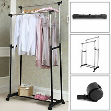 DOUBLE CLOTHES COAT RAIL GARMENT DRESS HANGING DISPLAY STAND SHOE RACK ON WHEELS