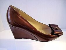LORBAC Bronze Patent Leather Designer Wedges Size 41. Made in Italy.