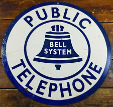 "Public Telephone Bell System Blue & White 14"" Round Metal Advertising Sign"