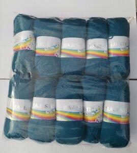 10 x Majestic Double Knit Wool Dark Teal Blue Mixed Fiber 100 gram Balls 1kg