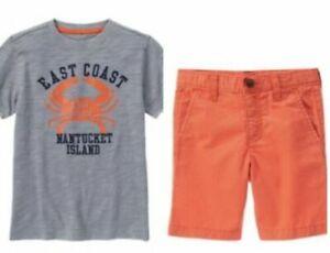Gymboree Fresh Catch 4 10 Nantucket Crab Shirt & Orange Shorts Set Nautical