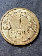 FRENCH WEST AFRICA 1944 1 Franc - PROVISIONAL GOVERNMENT FRENCH REPUBLIC #2